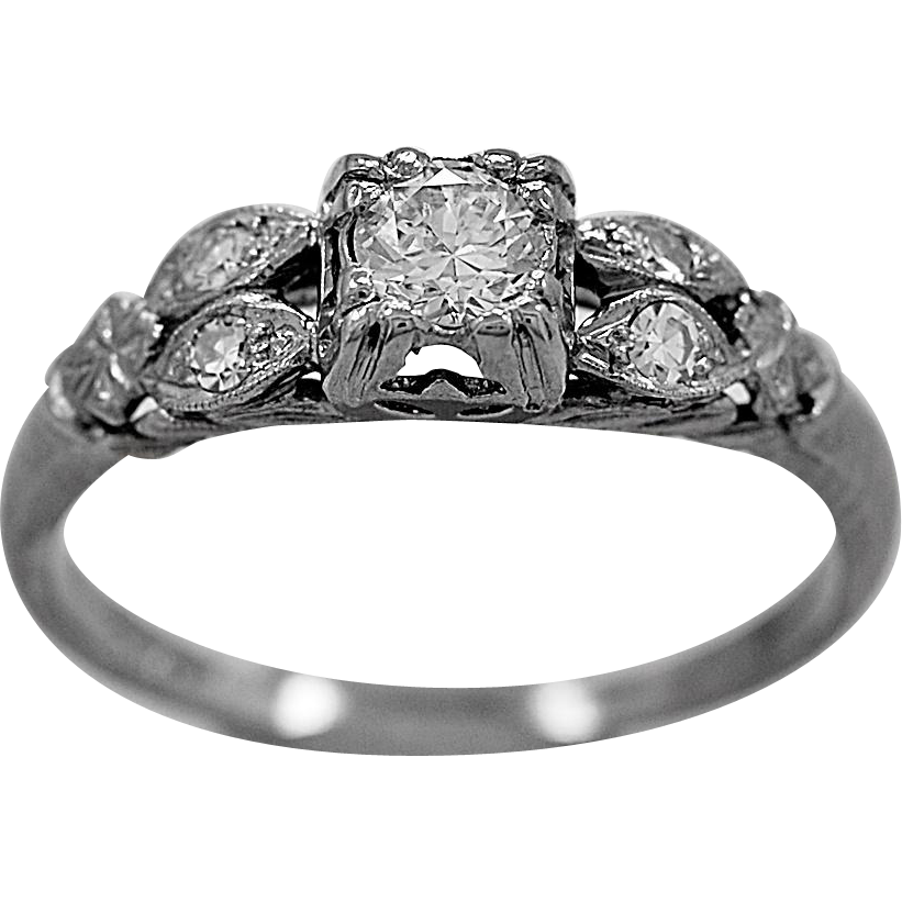 Antique Engagement Ring .25ct. Diamond & White Gold Art Deco - J36060