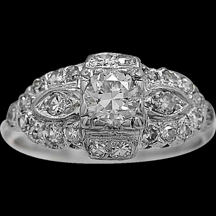 Antique Engagement Ring .50ct. Diamond & Platinum Art Deco - J36069