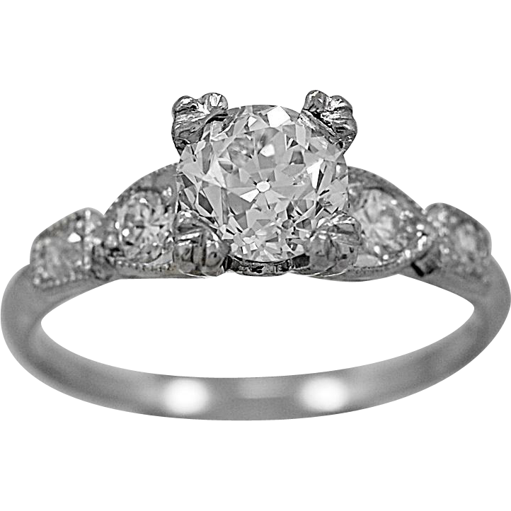 Antique Engagement Ring 1.00ct. Diamond & Platinum Art Deco - J36079