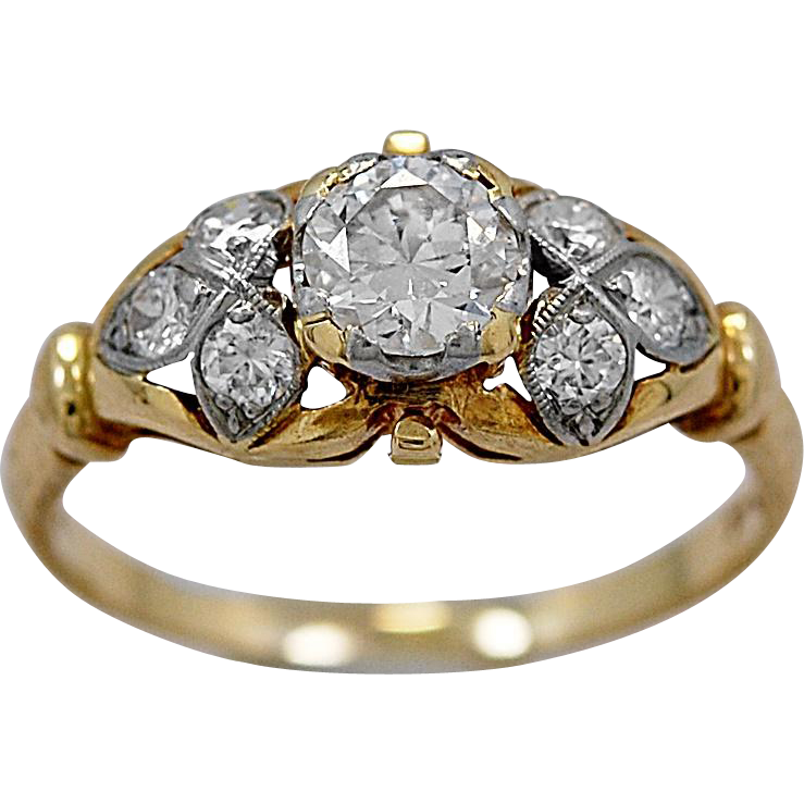 Antique Engagement Ring .36ct. Diamond, Platinum & Yellow Gold - J36113