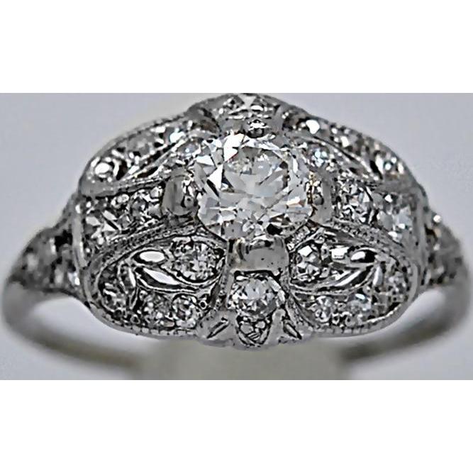 Platinum Antique Engagement Ring .40ct. Diamond Art Deco - J36084