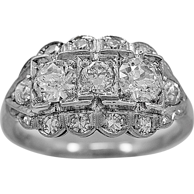 Antique Engagement Ring .88ct. T.W. Diamond & Platinum Art Deco - J36092