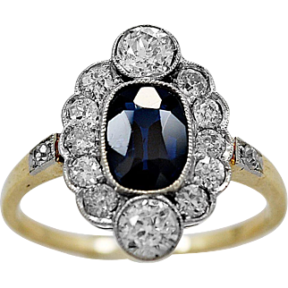 Antique Engagement Ring 1.15ct. Natural Sapphire, Diamond & Gold - J36093