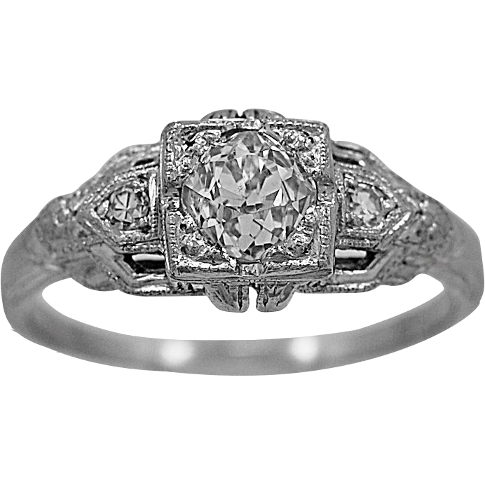 Antique Engagement Ring .60ct. Diamond & Platinum Art Deco - J36111