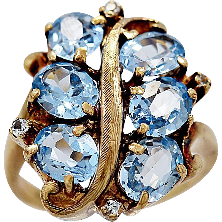 Antique Fashion Ring 3.00ct. T.W. Aquamarine, Diamond & Yellow Gold - J36128