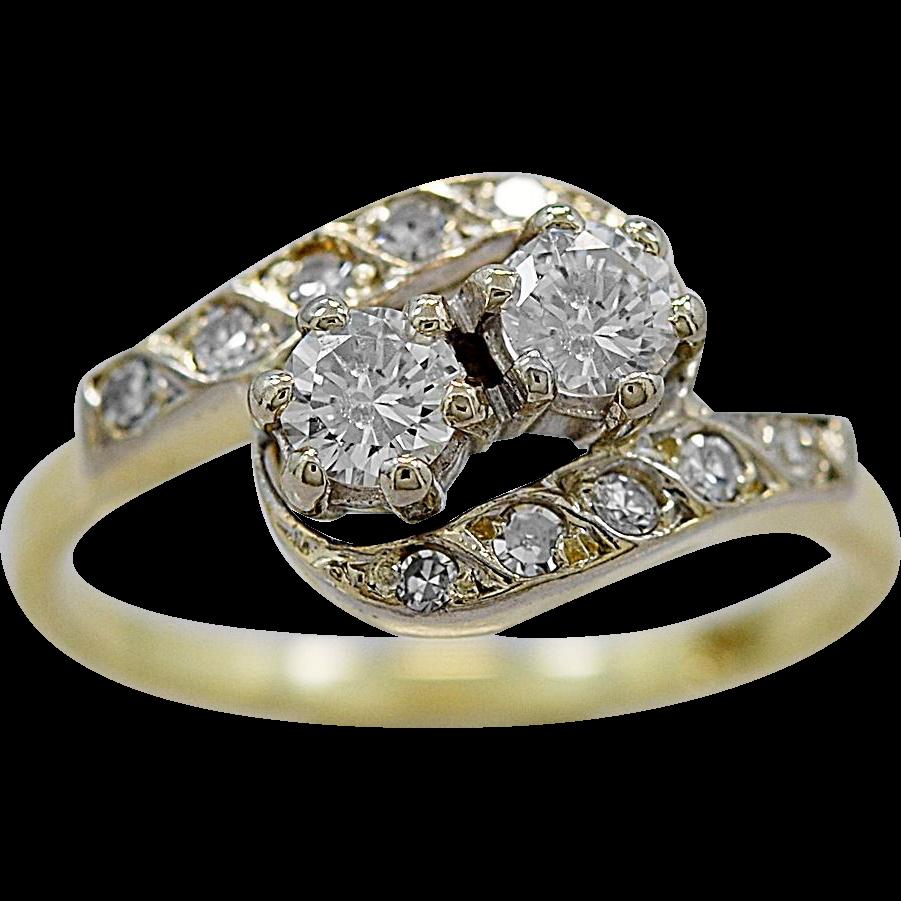 Antique Engagement Ring .40ct. T.W. Diamond & Gold 1930's - J36133