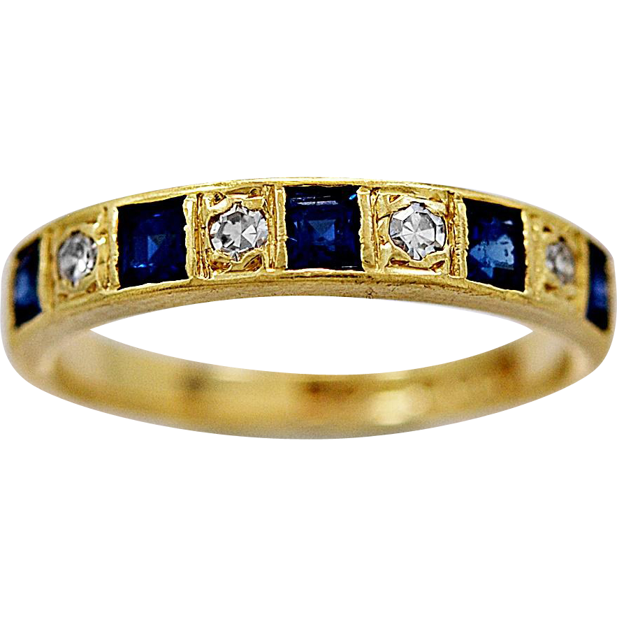 Antique Wedding Band .50ct. T.W. Sapphire, Diamond & 18K Gold - J36175