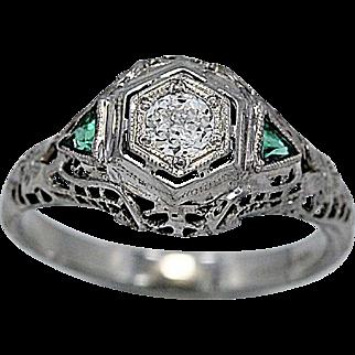 Antique Engagement Ring .16ct. Diamond, Emerald White Gold Deco - J36198