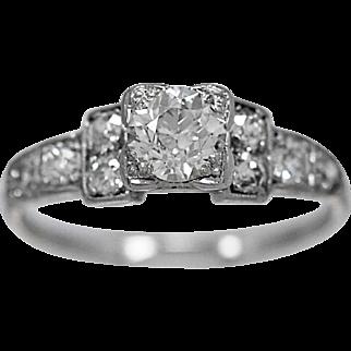 Antique Engagement Ring .50ct Diamond, 18k  White Gold Deco - J36201