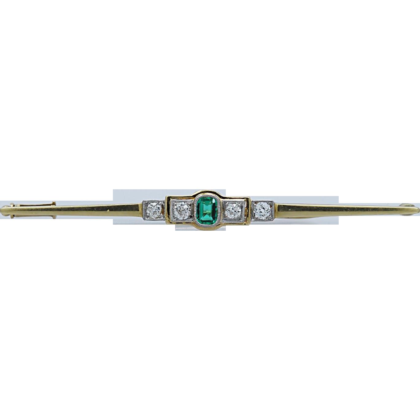 .15ct. Emerald & Diamond Edwardian Bar Pin  Platinum Yellow Gold