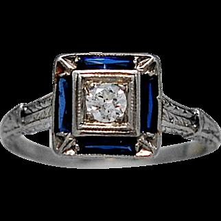 Art Deco Antique Engagement Ring .15ct. Diamond & .50ct. Sapphire Platinum - J36209