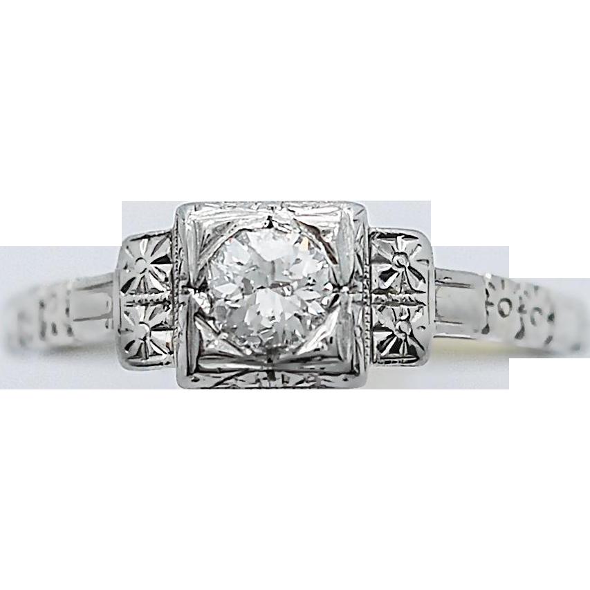 Art Deco Diamond Antique Engagement Ring .30ct. 18k White Gold