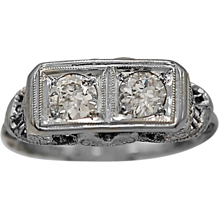 .66ct. T.W. Diamond & White Gold Antique Engagement Ring Art Deco