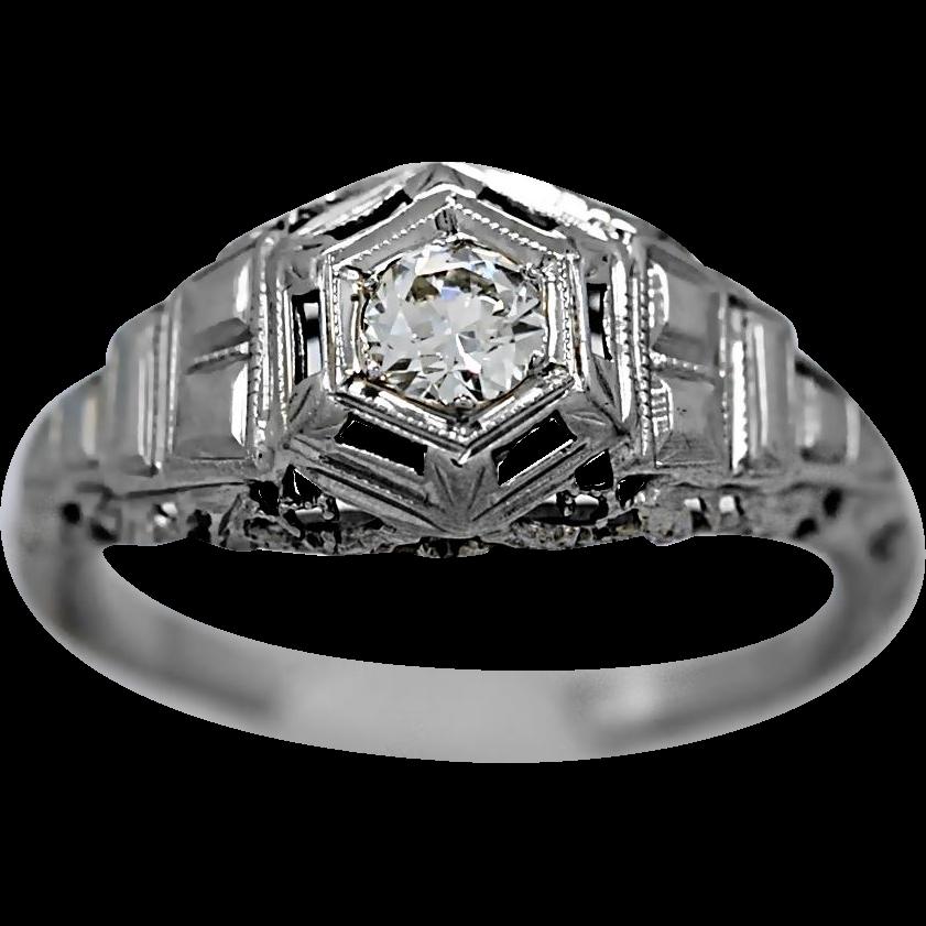 .25ct. Diamond Antique Engagement Ring 18k White Gold Art Deco