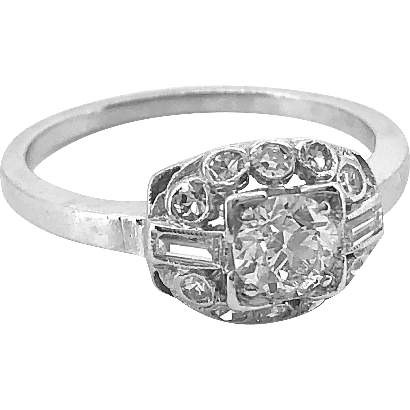 Antique Engagement Ring .40ct. Diamond & Platinum Art Deco - J36234