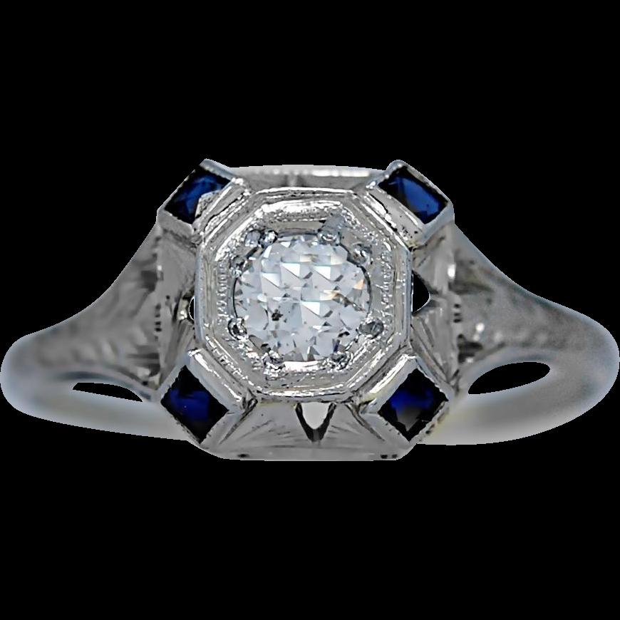 Antique Engagement Ring .25ct. Diamond, Sapphire & 18K White Gold Art Deco