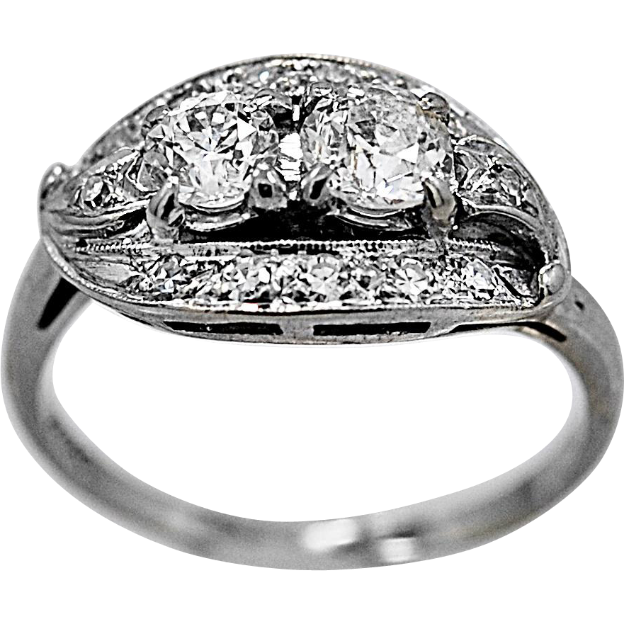 Antique Engagement Ring .78ct. Diamond & White Gold Art Deco - J36245