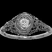 Art Deco Antique Engagement Ring .16ct. Diamond & White Gold - J36248