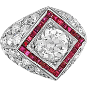 Art Deco 1.25ct. Diamond, 1.00ct. Ruby & Platinum Antique Engagement Fashion Ring - J36254