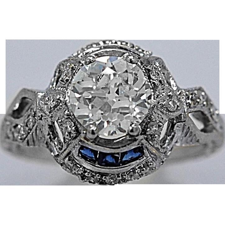 Art Deco .95ct. Diamond, Sapphire & 18K White Gold Antique Engagement Ring - J36255