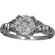 Art Deco Antique Engagement Ring 1.25ct. Diamond & Platinum - J36266