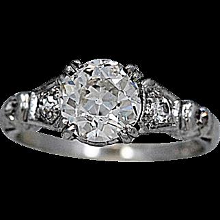 Art Deco Antique Engagement Ring 1.25ct. Diamond & Platinum - J36266