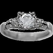 Art Deco Diamond Antique Engagement Ring .50ct. Diamond & White Gold