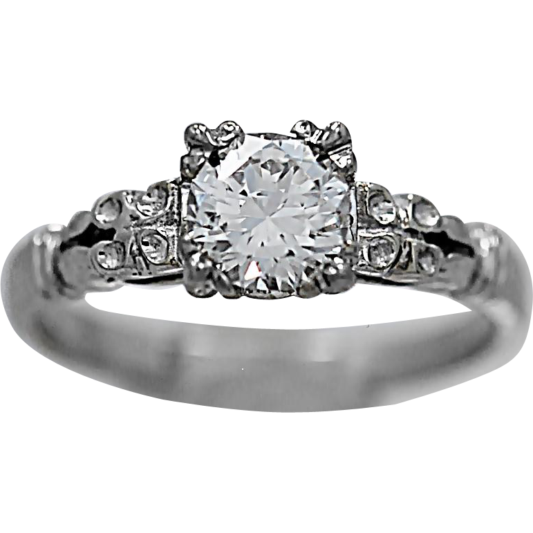 Art Deco Diamond Antique Engagement Ring .50ct. Diamond & White Gold