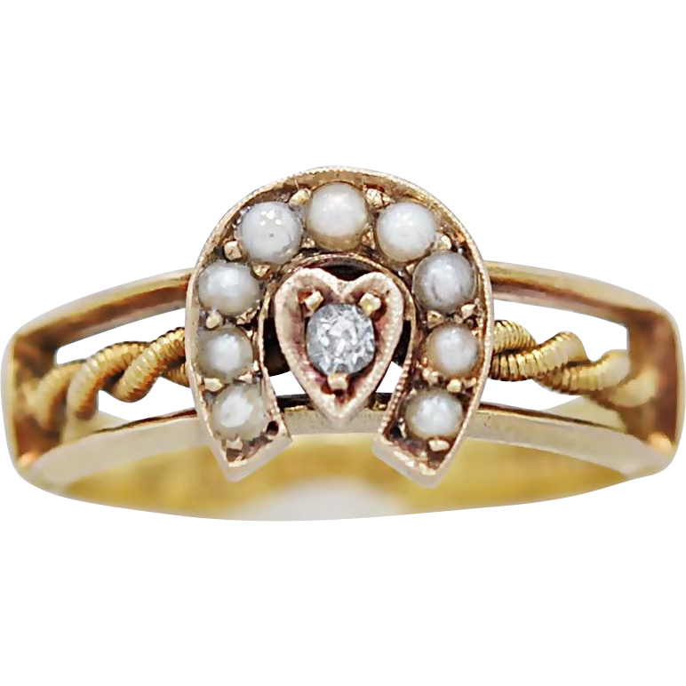 18K Yellow Gold Late Victorian Seed Pearl & Diamond Fashion Ring