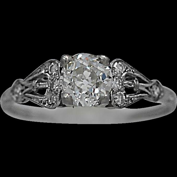 Antique Engagement Ring .75ct. Diamond & Platinum Art Deco