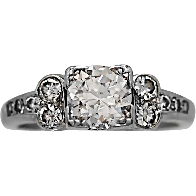 Art Deco Engagement Ring .70ct. Diamond & Platinum