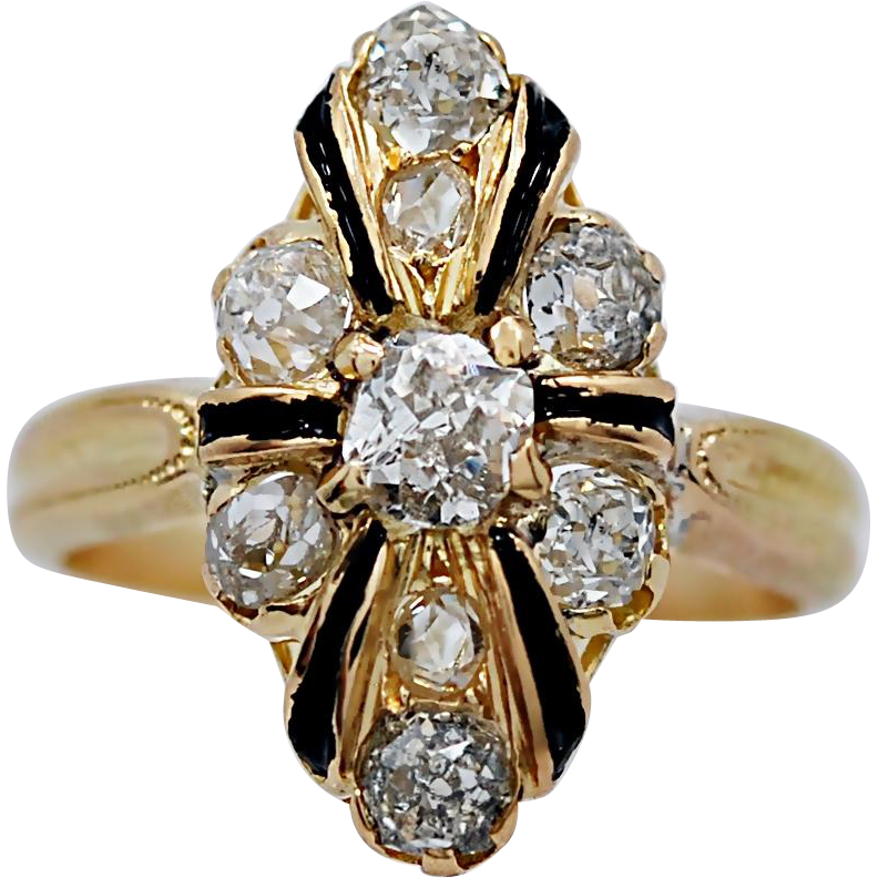 Late Victorian Engagement - Fashion Ring 1.25ct. T.W. Diamond 18K Yellow Gold & Enamel