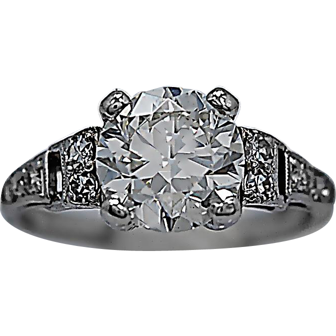 Art Deco Platinum Antique Engagement Ring 1.81ct. Diamond