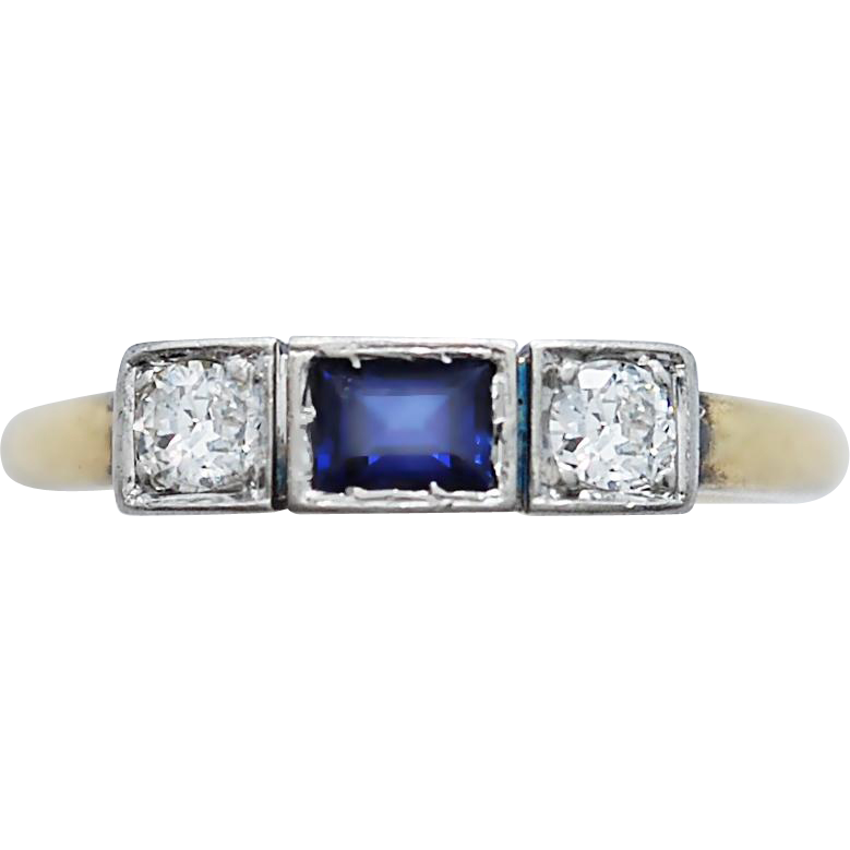 Art Deco Antique Wedding - Fashion Ring .33ct. Sapphire & .25ct. T.W. Diamond Platinum & 18K Yellow Gold