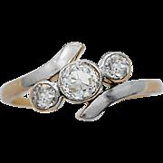 Art Deco Engagement - Fashion Ring .50ct. Diamond, Platinum & 18k Yellow Gold