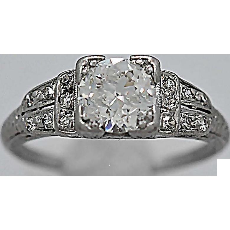 Platinum Antique Engagement Ring 1.25ct. Art Deco Platinum