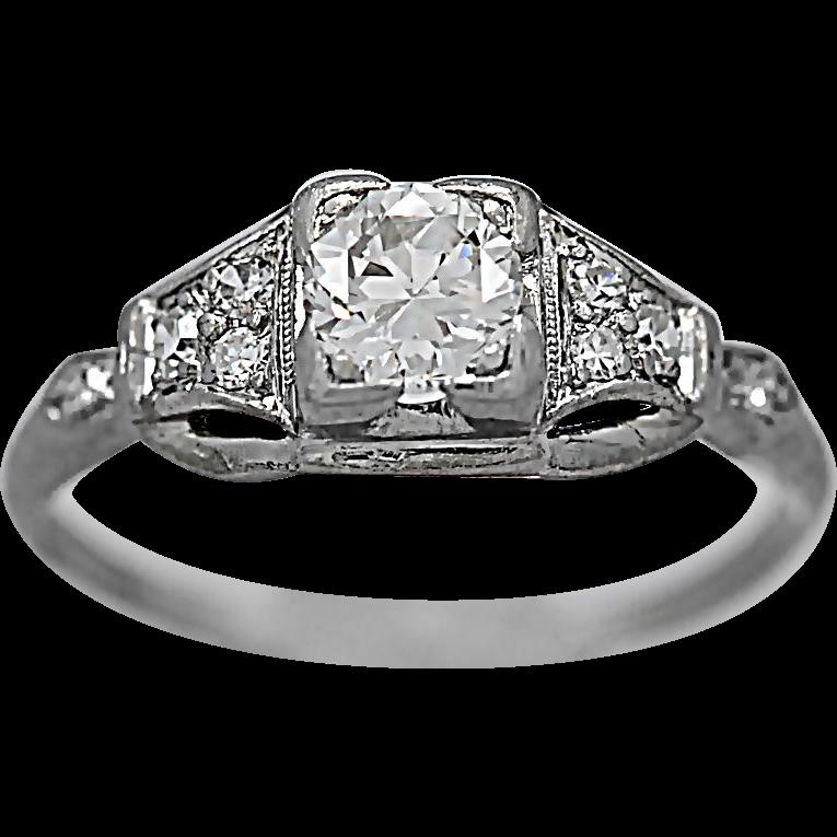 Platinum .50ct. Diamond Art Deco Antique Engagement Ring