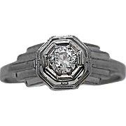 Art Deco .25ct. Diamond Antique Engagement Ring 18K White Gold