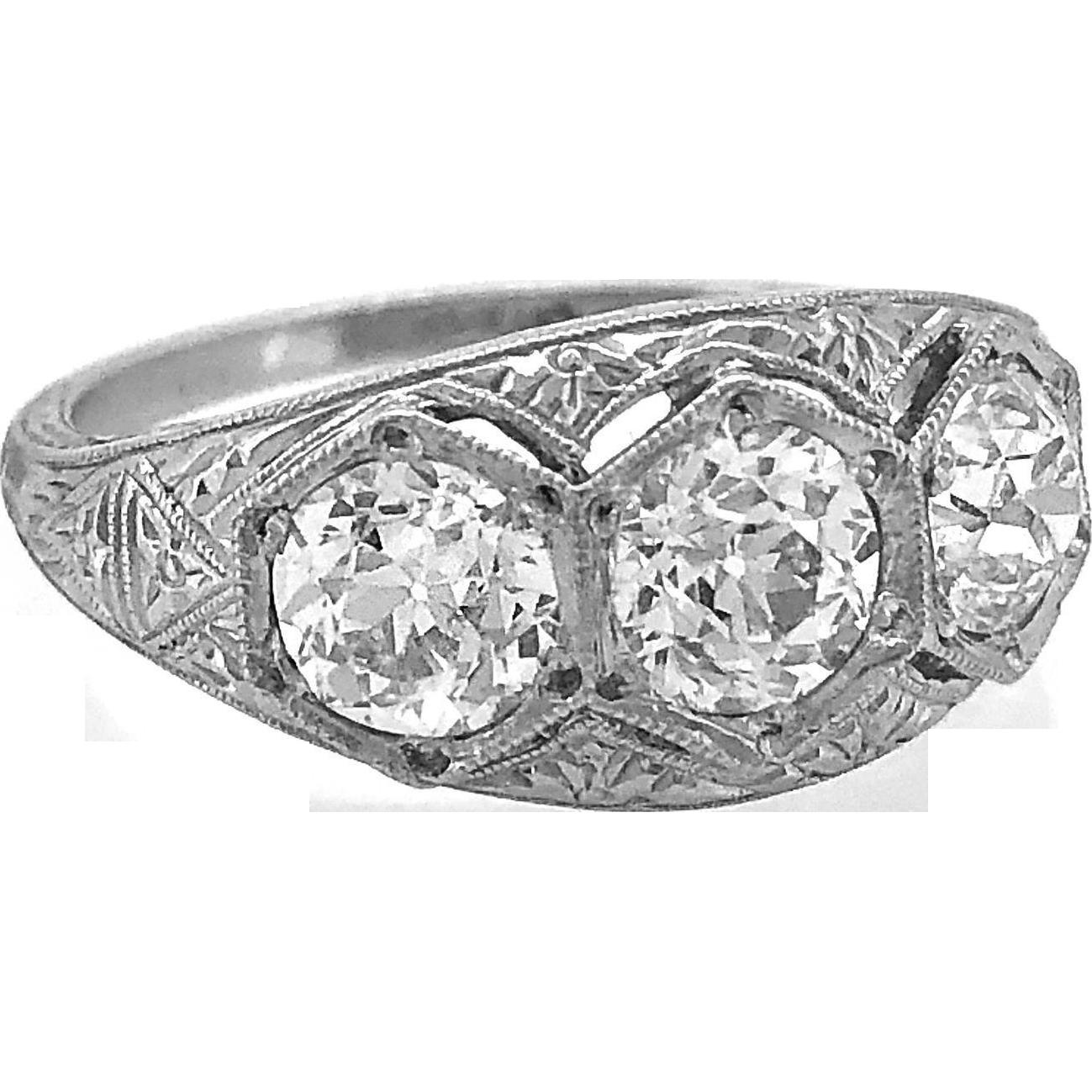 Diamond 3-stone Antique Engagement Ring 1.85ct. T.W. Art Deco Platinum