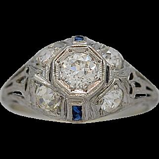 Platinum .40ct. Diamond & Sapphire Art Deco Antique Engagement Ring