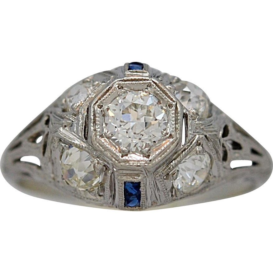 Platinum .40ct. Diamond & Sapphire Art Deco Antique Engagement Ring