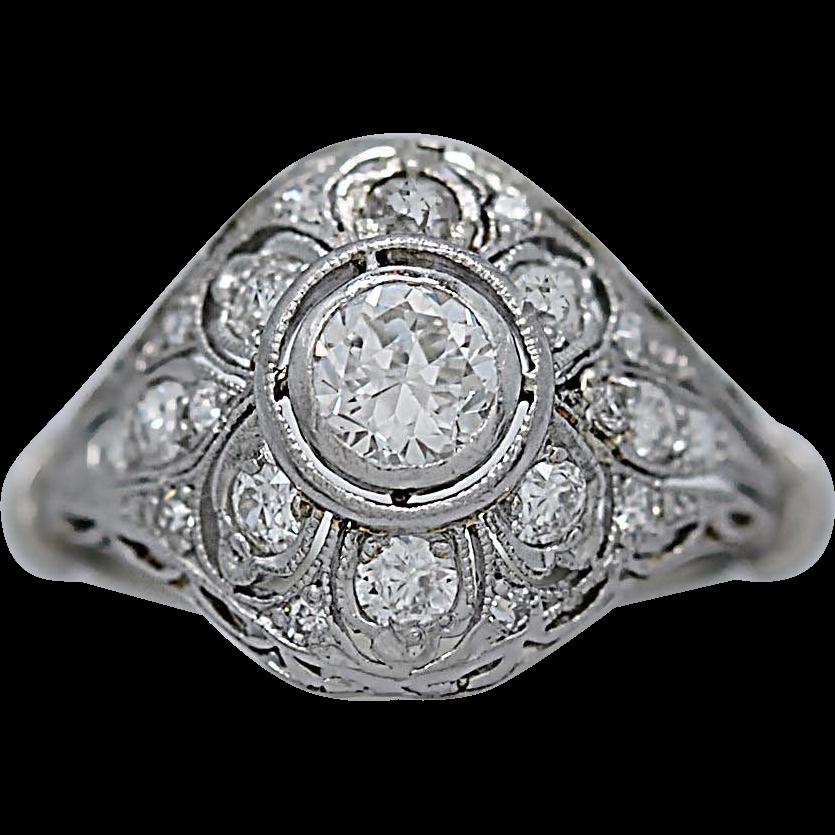 .50ct. Diamond Antique Engagement Ring Art Deco Platinum