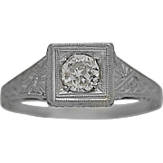 .33ct. Diamond Art Deco Antique Engagement Ring Platinum