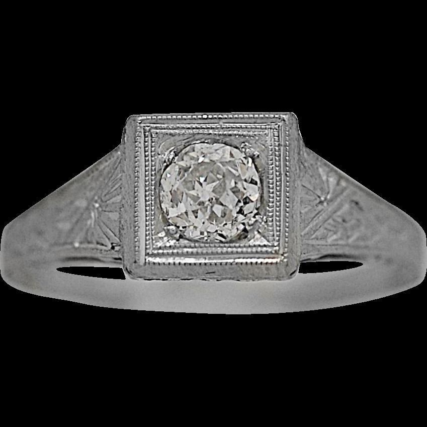 .33ct. Diamond Art Deco Antique Engagement Ring Platinum