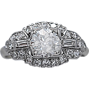 Platinum Art Deco Antique Engagement Ring .70ct. Diamond