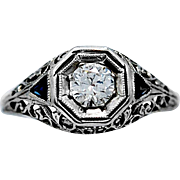 Art Deco .40ct. Diamond and Sapphire Antique Engagement Ring 18k White Gold