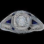 .50ct. Diamond & Sapphire Art Deco Engagement Ring 18k White Gold