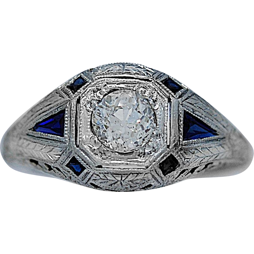 .50ct. Diamond & Sapphire Art Deco Engagement Ring 18k White Gold