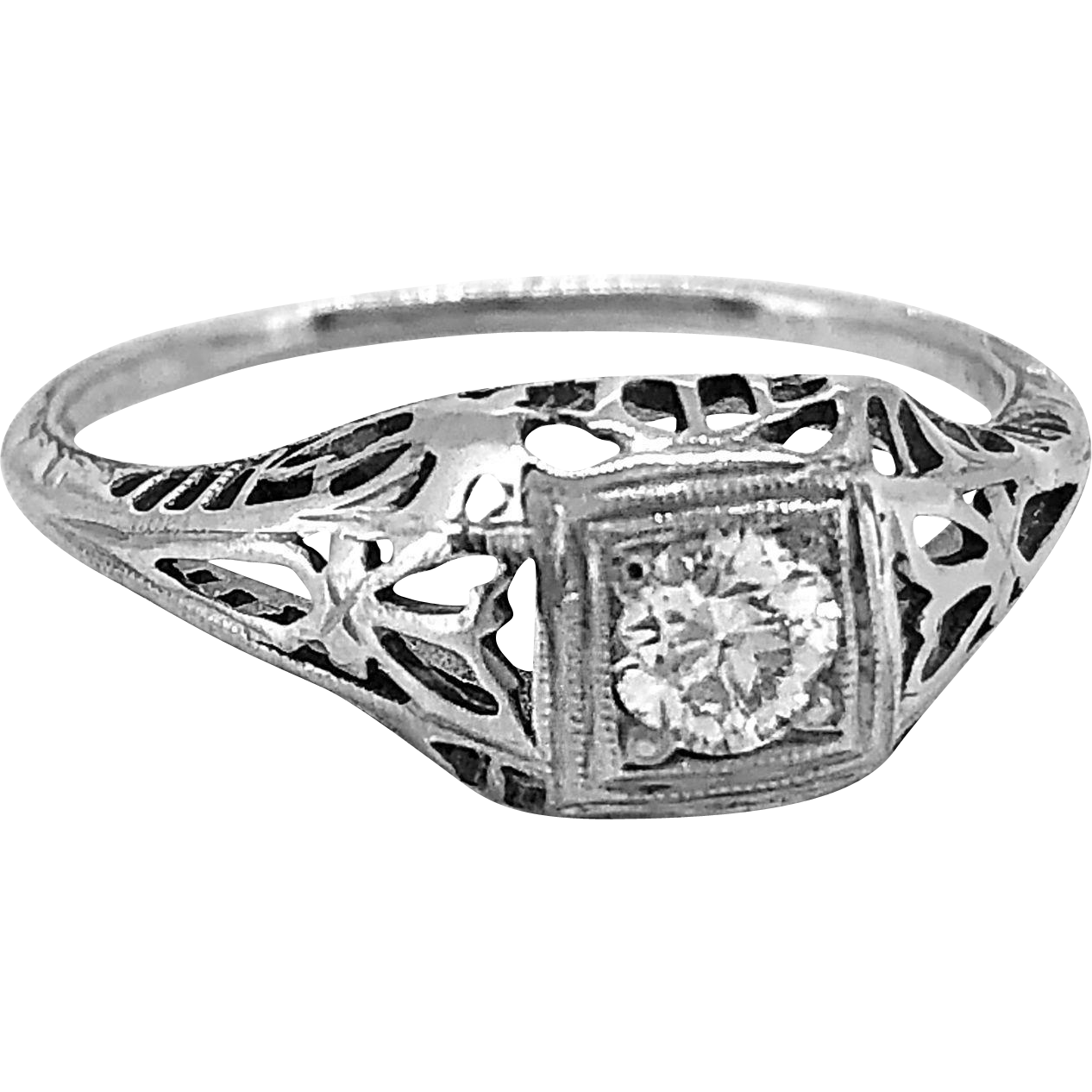 .16ct. Diamond Art Deco Antique Engagement Ring 18K White Gold