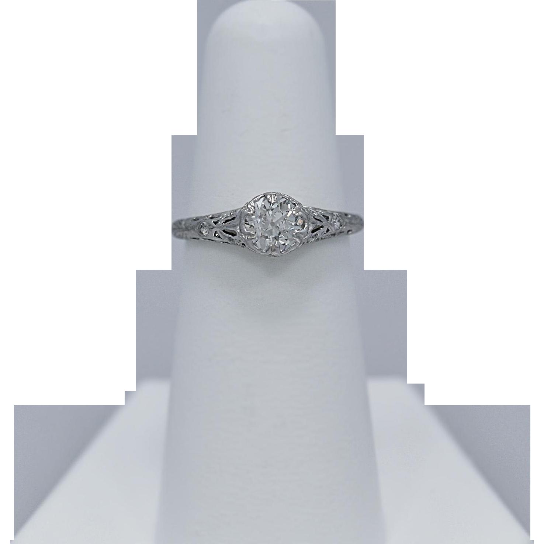 Art Deco .75ct. Diamond Antique Engagement Ring Platinum